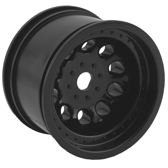 Black Revolver Monster Truck Wheels, StableMaxx Offset - 17mm