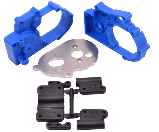 Blue Gearbox Housing and Rear Mounts for Traxxas 2wd Vehicles