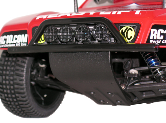Assoc. SC10 2wd Front Bumper, Chassis Brace & Skid Plate - Black